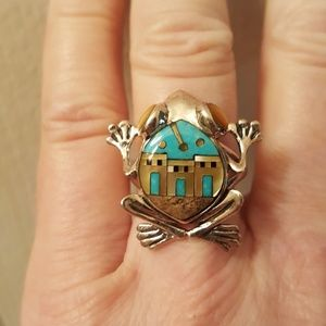 Jewelry - Multi Gemstone Turquoise Sterling Frog Size 9